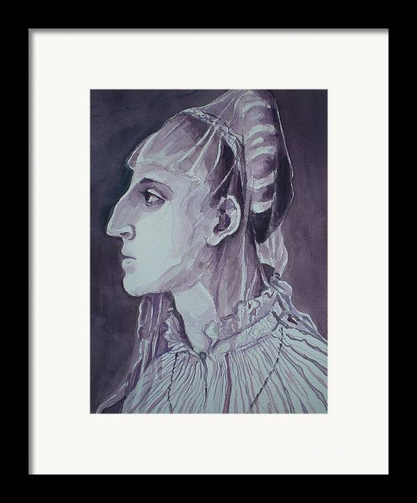 Woman's Head Framed Print featuring the painting Study Of Laura Battiferri After Agnolo Bronzino C.1555 by Aleksandra Buha