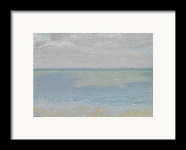 Study; Sky; Sea; Seascape; Horizon; Impressionistic; Water; Clouds; Sketch; Impressionism Framed Print featuring the painting Study Of Sky And Sea by Herbert Dalziel