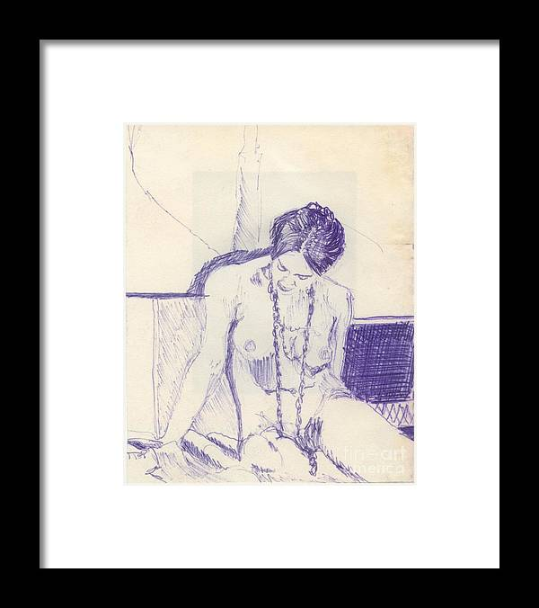 Ink Sketch Framed Print featuring the drawing Studying For Exams by Ron Bissett