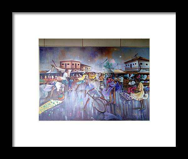 Contact Me On +23490336664790 Framed Print featuring the painting Stum At The Market by Ferdinand Emeka