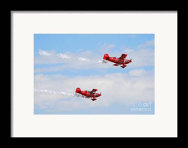 Stunts Framed Print featuring the photograph Stunt Pilots by Larry Keahey