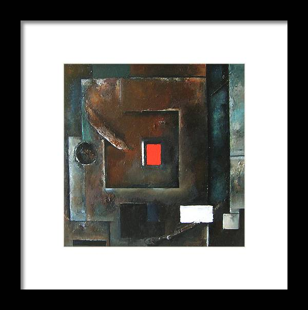 Red Geometric Square Rectangle Abstract Wood Framed Print featuring the painting Subterfuge by Martel Chapman