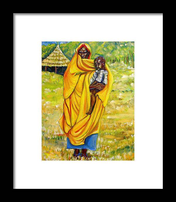 Portraits Framed Print featuring the painting Sudanese Mother And Child by George Chacon