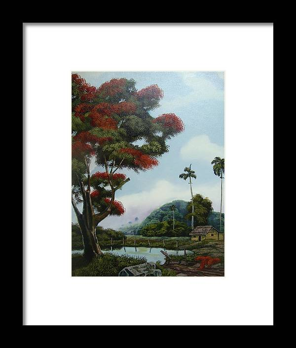 Tree Framed Print featuring the painting Sudden Shade by Carlos Rodriguez Yorde