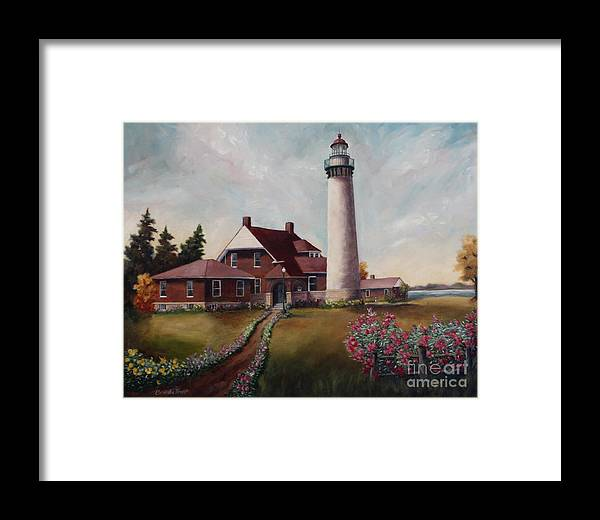 Lighthouse Nautical Building Structure Oil Painting Canvas Original Lake Michigan Flowers Framed Print featuring the painting Suel Choix Light by Brenda Thour