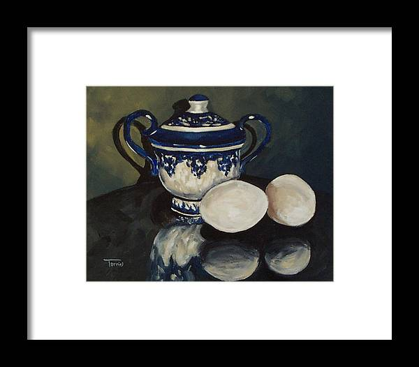 Flow Blue Framed Print featuring the painting Sugar And Eggs by Torrie Smiley