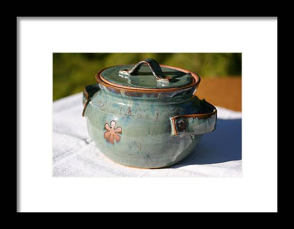 Green Ceramic Framed Print featuring the ceramic art Sugar Canister by Monika Hood