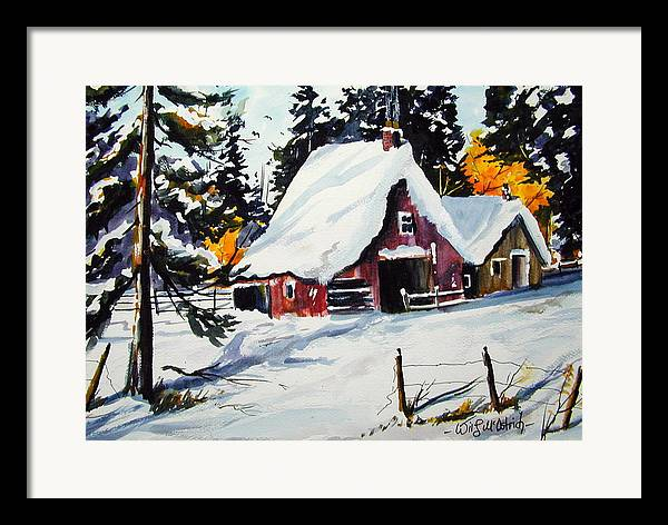 Quebec Sugar Shack At Grand Mere Framed Print featuring the painting Sugar Shack At Grande Mere by Wilfred McOstrich