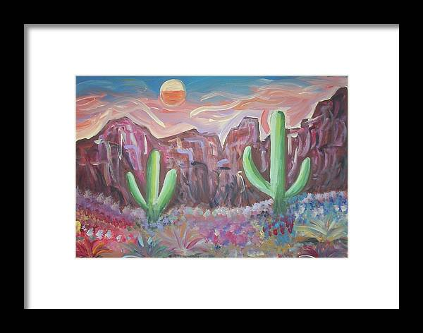 Landscape Framed Print featuring the painting Suggestive Desert Lands by Lindsay St john