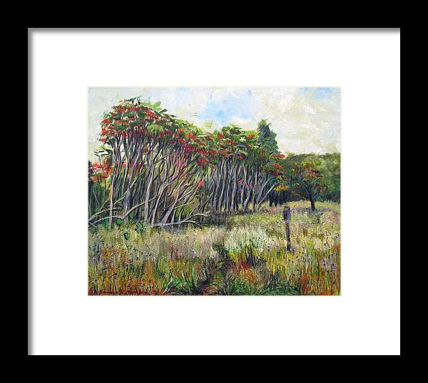 Fall Framed Print featuring the painting Sumac Fall by Art Nomad Sandra Hansen