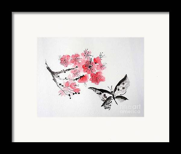 Blossoms Framed Print featuring the painting Sumi -e Butterfly by Sibby S
