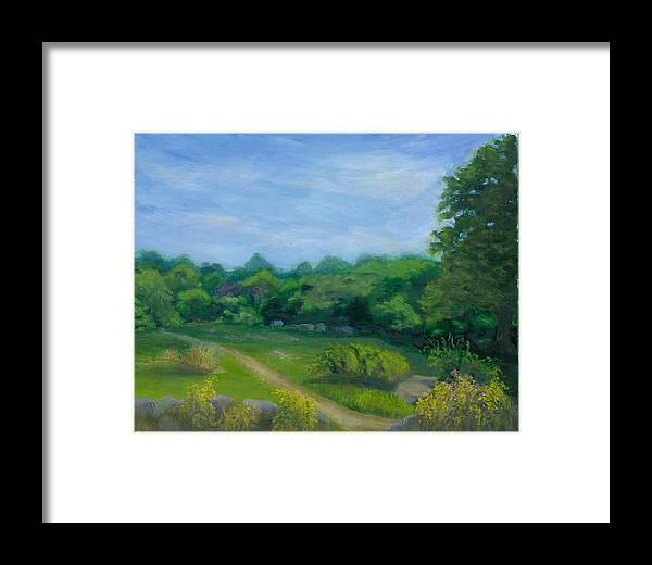 Landscape Framed Print featuring the painting Summer Afternoon At Ashlawn Farm by Paula Emery
