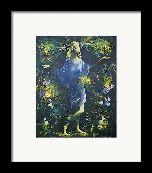 Figures Framed Print featuring the painting Summer by Andrej Vystropov