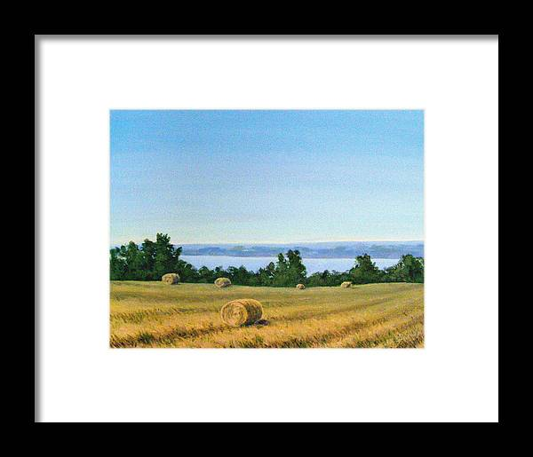 Lanscape Framed Print featuring the painting Summer At Cayuga Lake by Evelynn Eighmey