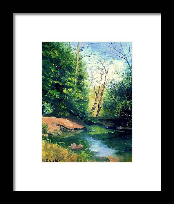 Landscape Framed Print featuring the painting Summer at Storm by Gail Kirtz
