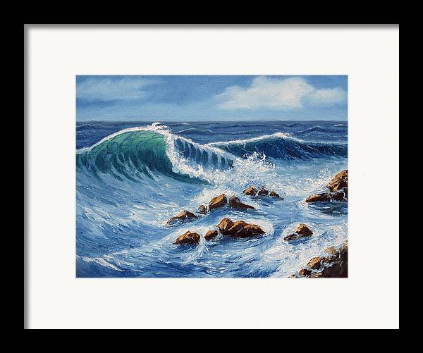 Sea Scapes Framed Print featuring the painting Summer At The Beach by Lorraine Foster
