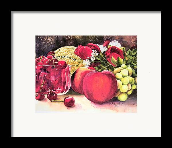 Cherries Framed Print featuring the painting Summer Bounty by Karen Stark