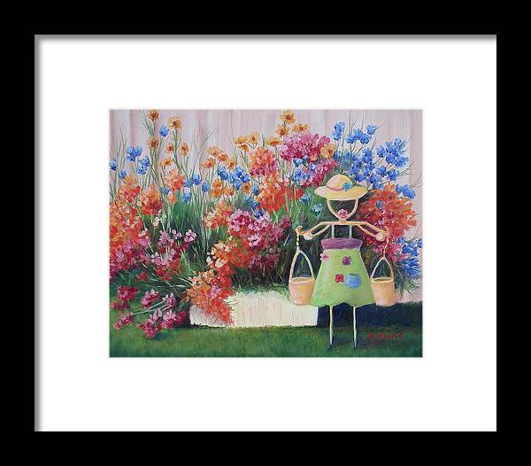 Landscape Framed Print featuring the painting Summer Bounty by Maxine Ouellet