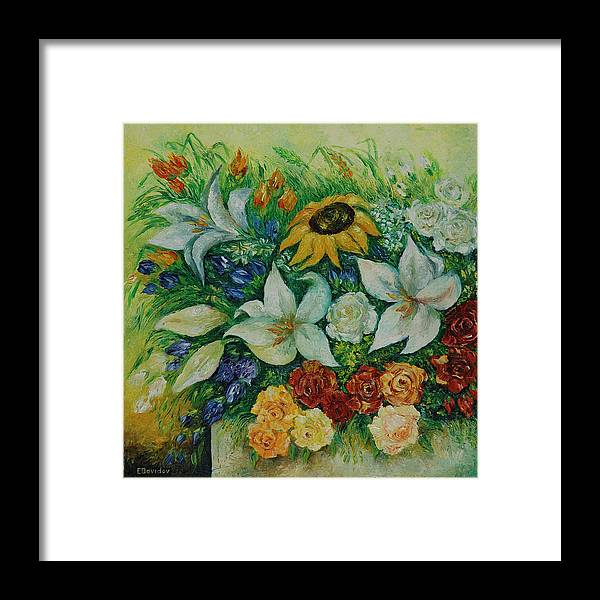 Flowers Framed Print featuring the painting Summer Bouquet - Left Part Of Diptych. by Evgenia Davidov