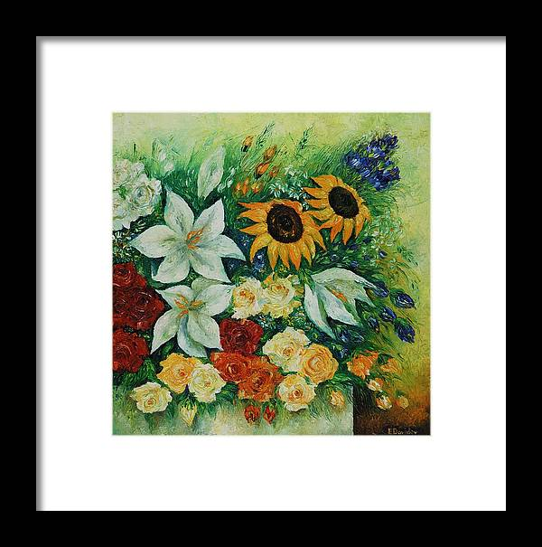 Flowers Framed Print featuring the painting Summer Bouquet - Right Part Of Diptych. by Evgenia Davidov