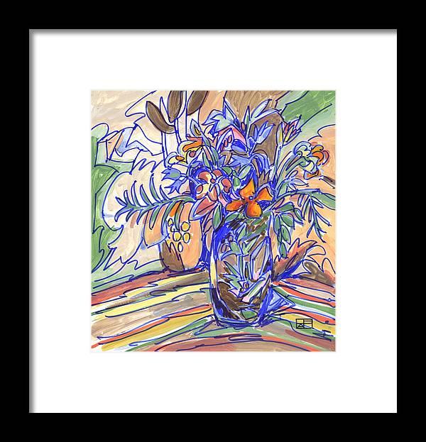 Still Life Framed Print featuring the painting Summer Bouquet by Helen Pisarek