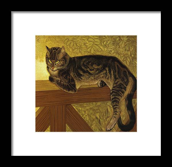 Theophile Framed Print featuring the painting Summer Cat On A Balustrade by Theophile Steinlen