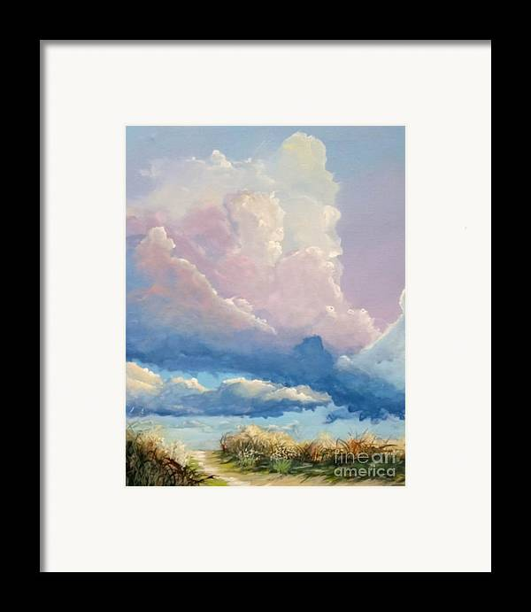 Landscape Framed Print featuring the painting Summer Clouds by John Wise