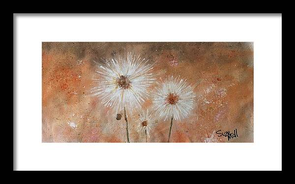 Flowers Framed Print featuring the painting Summer Dandelions by Suze Moll