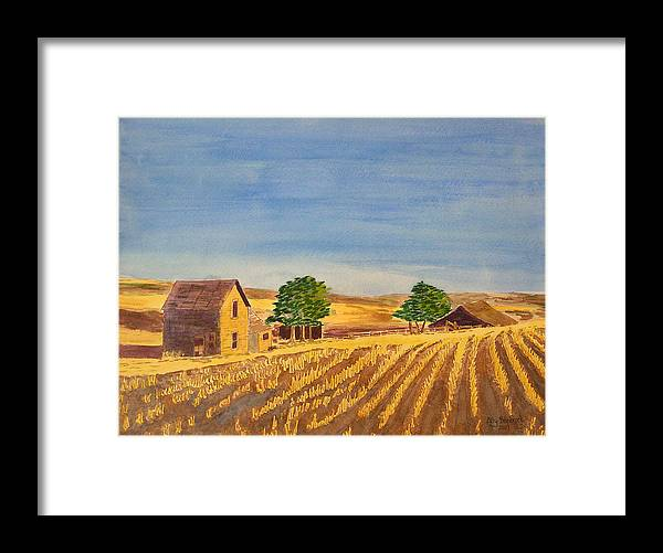 Farm Framed Print featuring the painting Summer Farm by Ally Benbrook