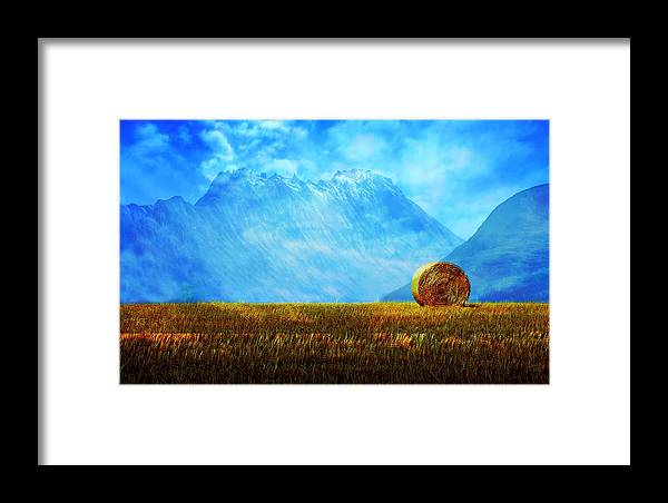 Blue Sky Framed Print featuring the painting Summer Field by Enki Art