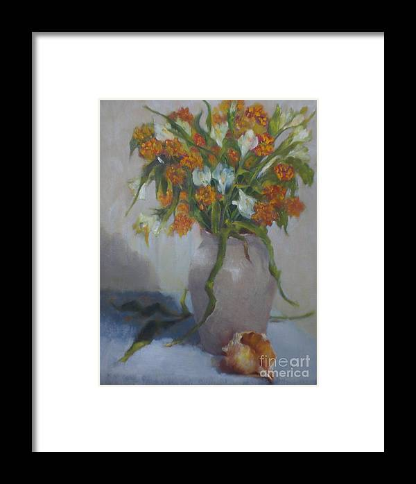 Contemporary Still Life Framed Print featuring the painting Summer Floral   Copyrighted by Kathleen Hoekstra