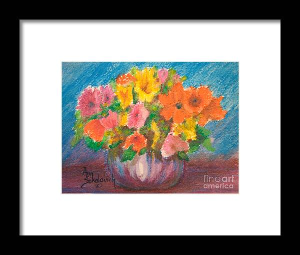 Sokolovich Framed Print featuring the painting Summer Flowers by Ann Sokolovich
