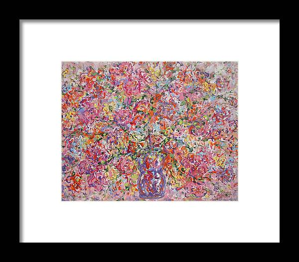 Painting Framed Print featuring the painting Summer Flowers by Leonard Holland