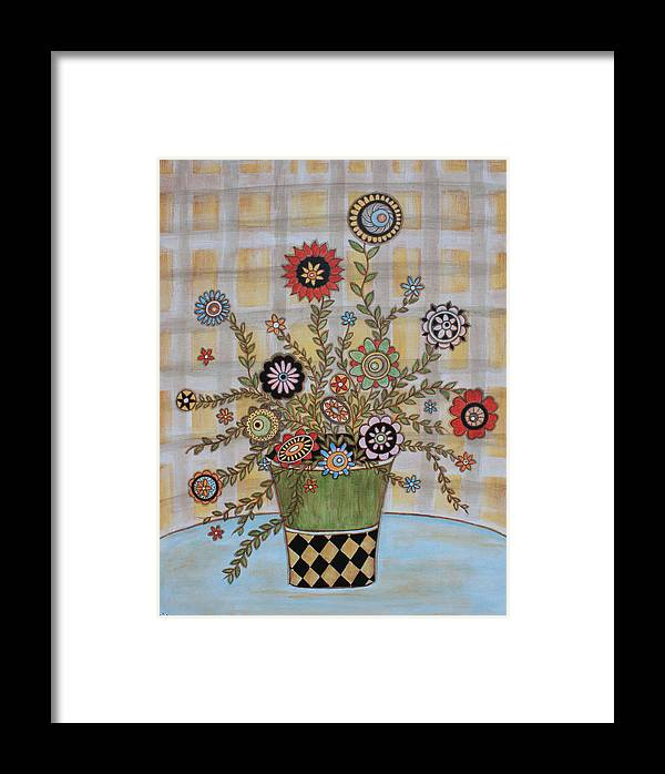Folk Art Paintings Framed Print featuring the painting Summer Flowers by Rain Ririn