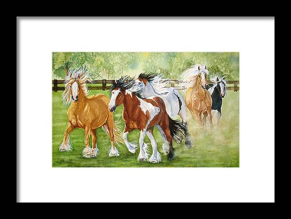 Horse Framed Print featuring the painting Summer Frolic by Gina Hall