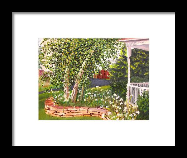 Daisies Framed Print featuring the painting Summer Garden by Lea Novak
