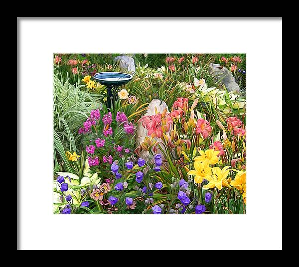 Flowers Framed Print featuring the painting Summer Garden by Sue Brehant