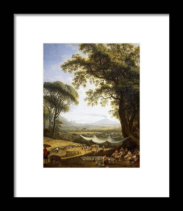Jacob Philipp Hackert Framed Print featuring the painting Summer Harvest On Caserta Plain by Jacob Philipp Hackert