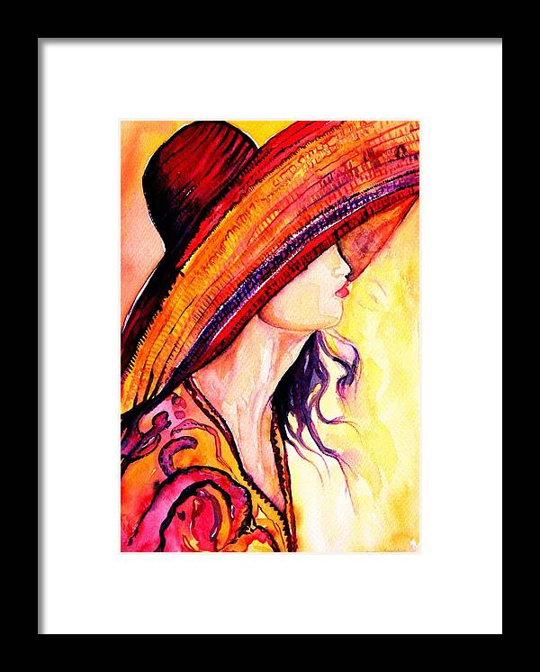 Elegant Lady Framed Print featuring the painting Summer Hat by Carole Spandau