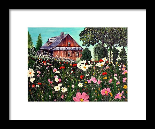 House Framed Print featuring the painting Summer House by Dia Spriggs