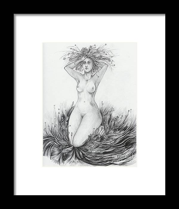 Nude Framed Print featuring the drawing Summer II by Anna Duyunova