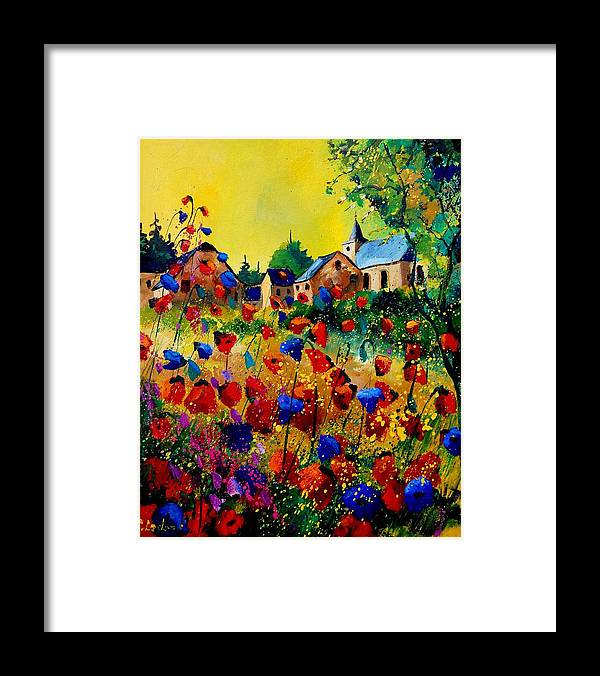 Poppy Framed Print featuring the painting Summer in Sosoye by Pol Ledent