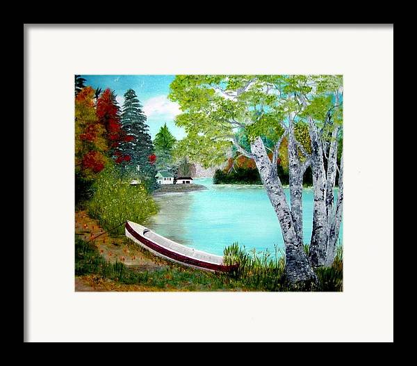 Beautiful Bracebridge Ontario Oil Painting Framed Print featuring the painting Summer In The Muskoka's by Peggy Holcroft