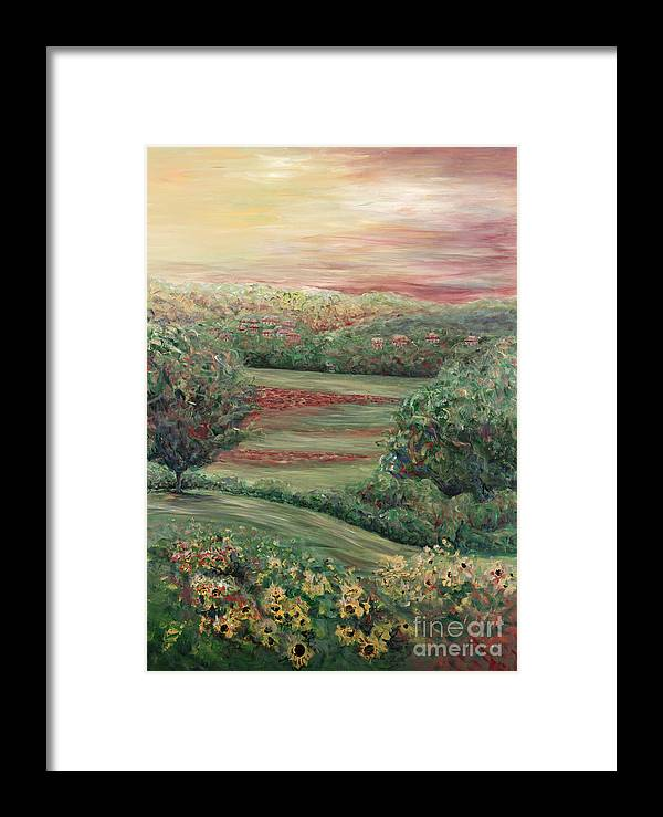 Landscape Framed Print featuring the painting Summer In Tuscany by Nadine Rippelmeyer
