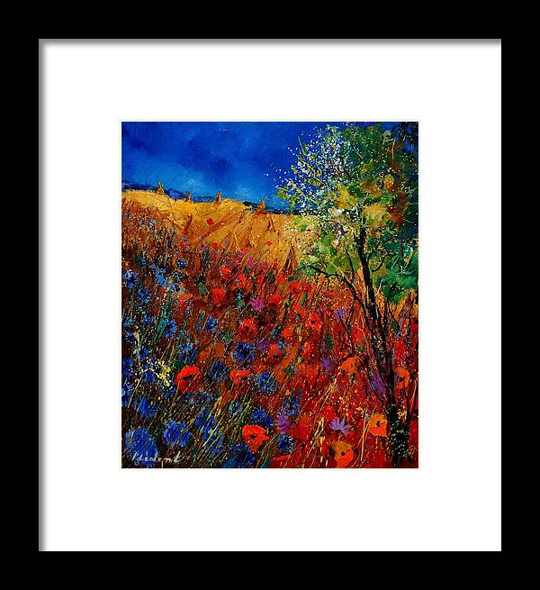 Flowers Framed Print featuring the painting Summer Landscape With Poppies by Pol Ledent