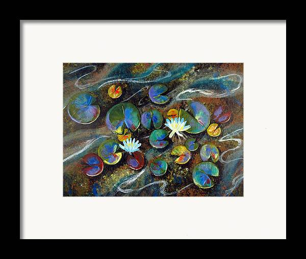 Lillies Framed Print featuring the painting Summer Lillies by Art Nomad Sandra Hansen