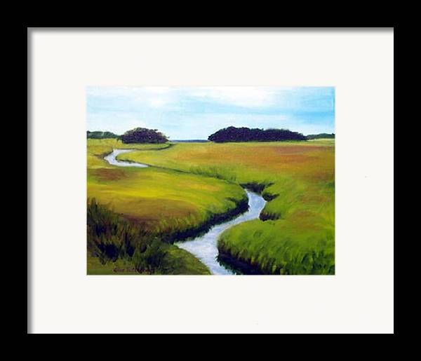 Landscape Framed Print featuring the print Summer Marsh by Anne Trotter Hodge