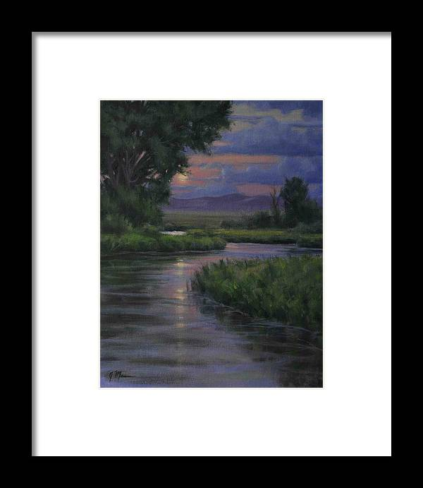 Summer Moonrise Framed Print featuring the painting Summer Moon by Joe Mancuso