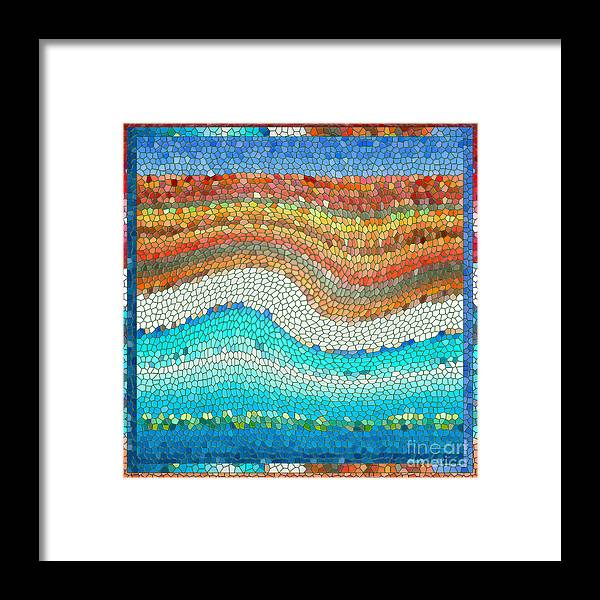 Colorful Framed Print featuring the digital art Summer Mosaic by Melissa A Benson
