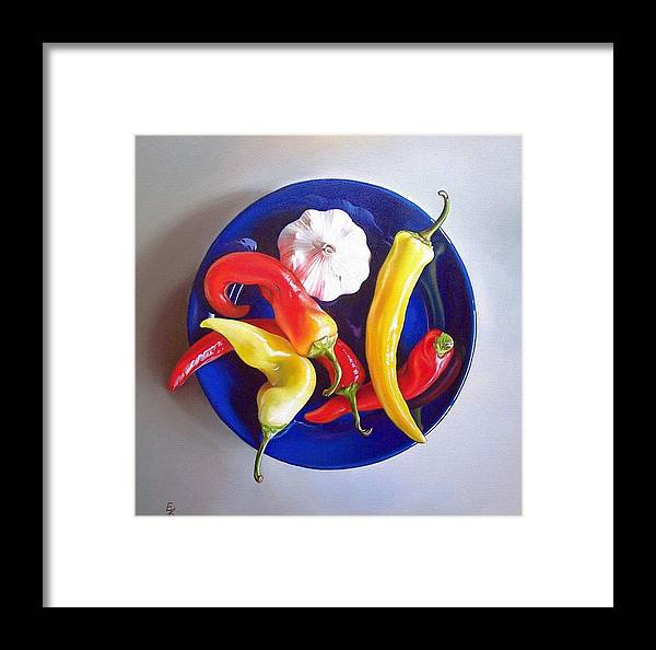 Still Life Framed Print featuring the painting Summer Plate 1 by Elena Kolotusha